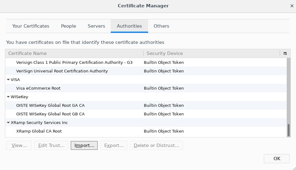 Firefox CM - Authorities