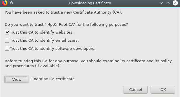 Firefox - Downloading Certificate