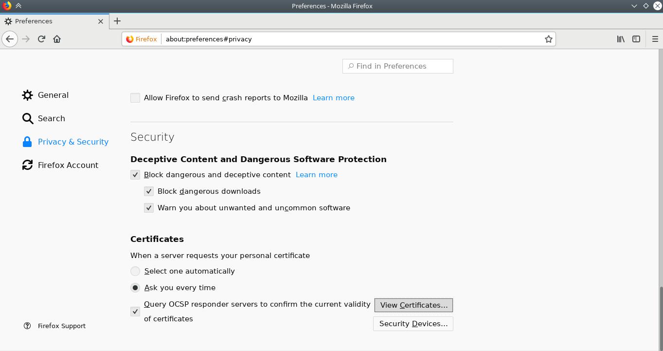Firefox privacy preferences