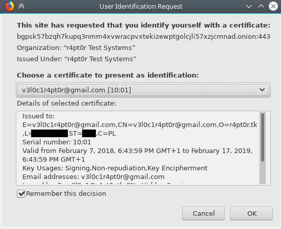Firefox - User Identification Request