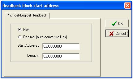 MTK Flash Tool Read Back settings