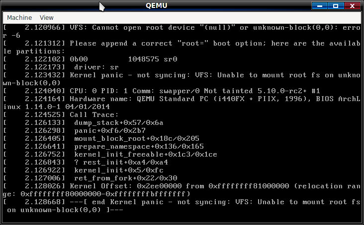 qemu kernel panic - unable to mount root fs